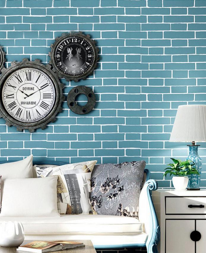 imitation brique turquoise avec coutures blanches