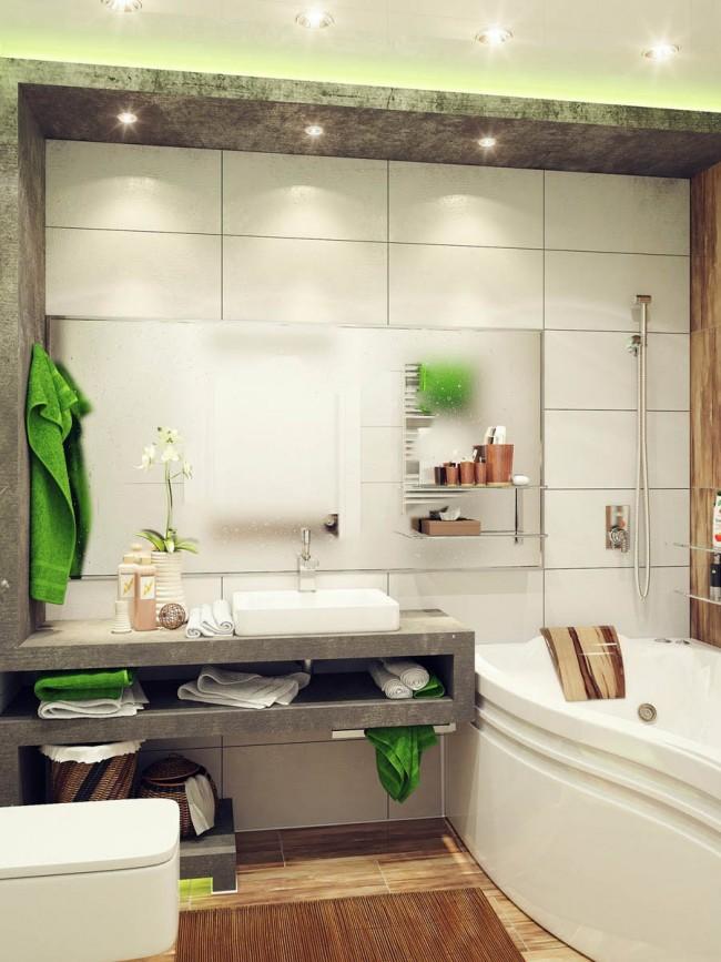 Comme vous pouvez le voir sur la photo, même les serviettes peuvent devenir un élément indépendant du décor de la salle de bain, en le complétant avec de la couleur.