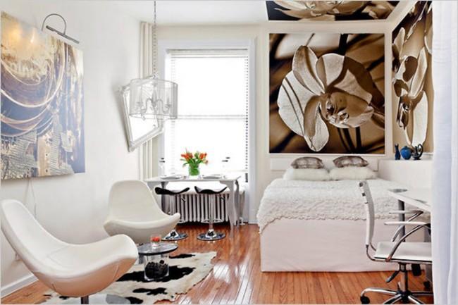 Conception d'une chambre de 18 m². Un appartement pour un couple de citadins moderne qui arbore un design simple mais haut de gamme