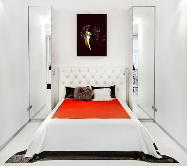 Chambre étroite en blanc