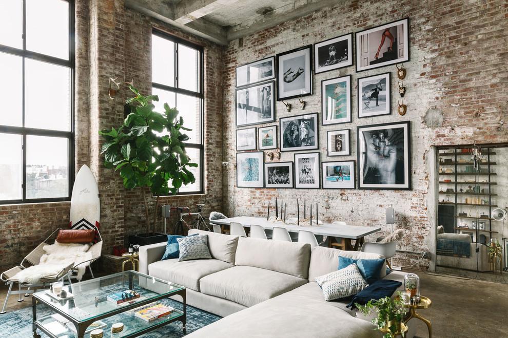 Conception de salon de style loft laconique