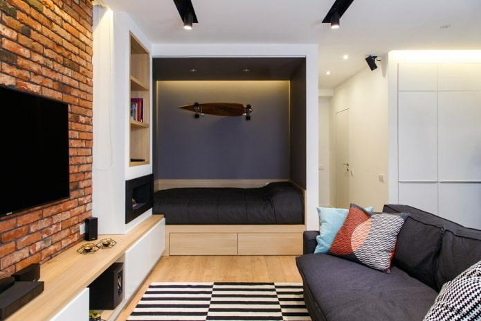 l'intérieur d'un studio de 40 carrés