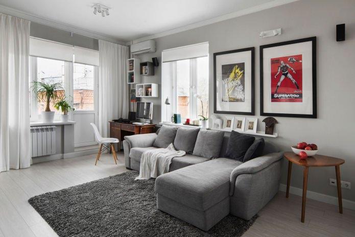 Canapé d'angle dans le salon
