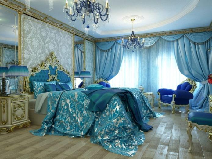 intérieur de la chambre aux tons or et bleu
