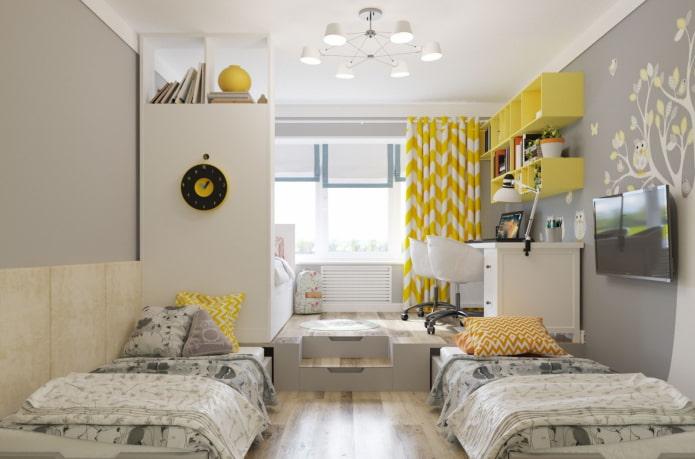 aménagement de la chambre pour trois enfants