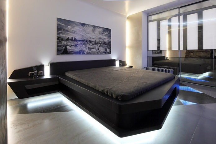 meubles à l'intérieur de la chambre dans un style high-tech