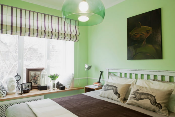 intérieur de la chambre dans les tons vert clair