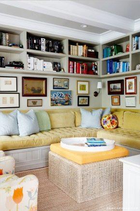 Comment choisir une étagère dans le salon: de beaux exemples à l'intérieur