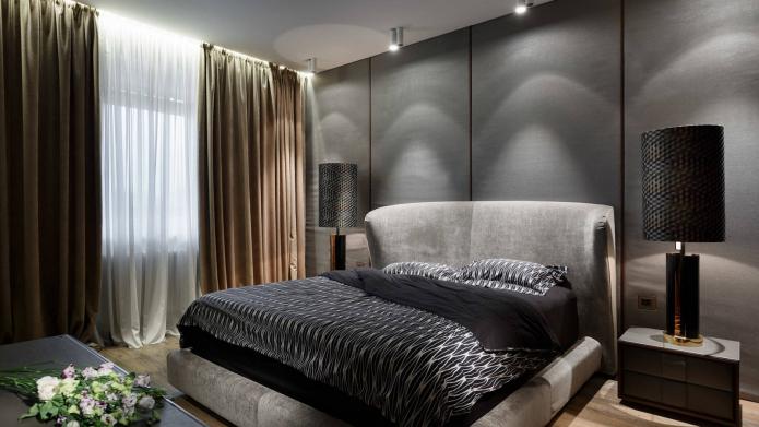 chambre gris-beige
