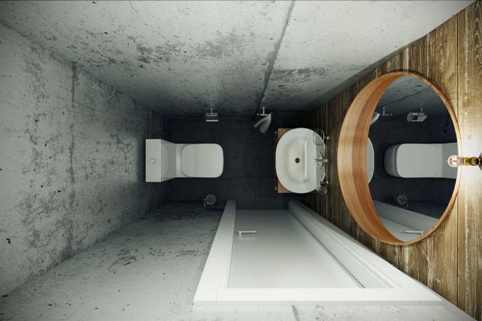 murs en béton dans les toilettes
