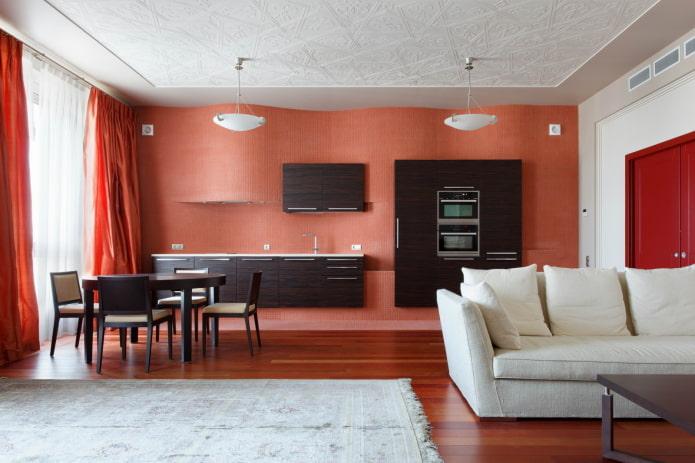 zonage des couleurs à l'intérieur de la cuisine-salon