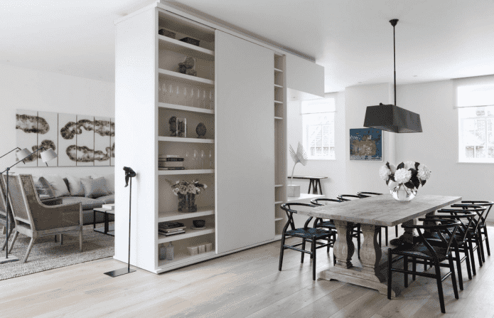 zonage de la garde-robe à l'intérieur de la cuisine-salon