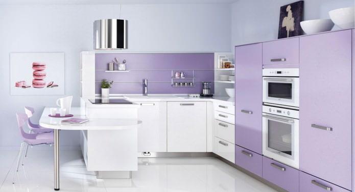 Conception de cuisine dans les tons lilas: caractéristiques, photos