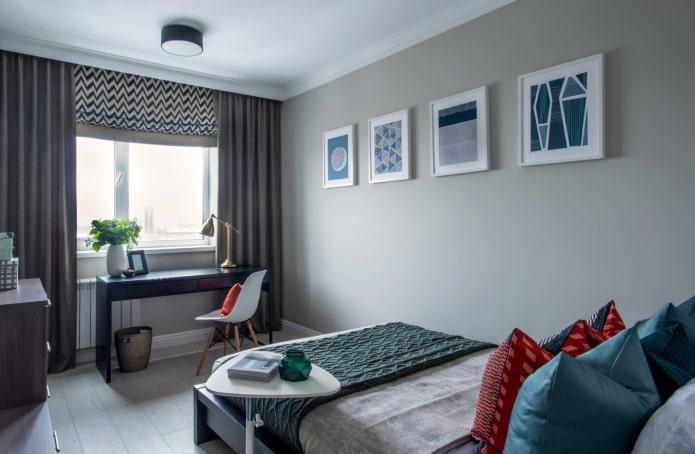 Chambre rectangulaire grise