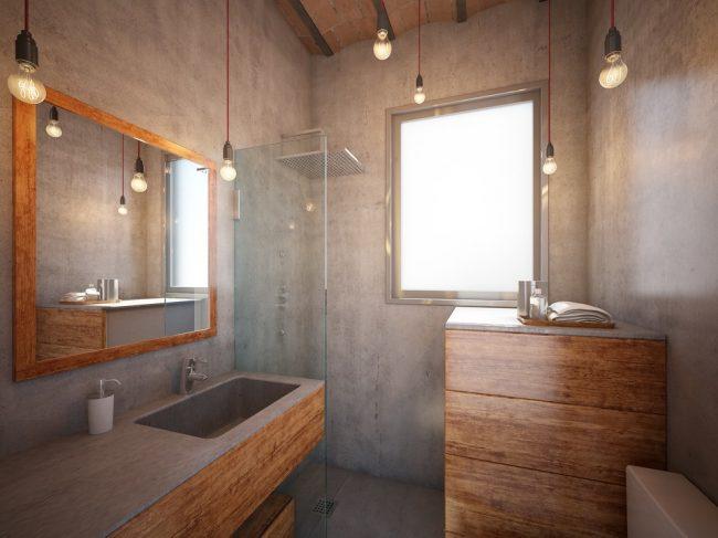Intérieur élégant d'une petite salle de bain dans le style loft
