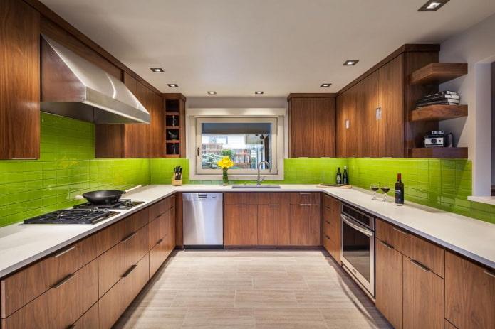 intérieur de cuisine dans des tons vert-marron