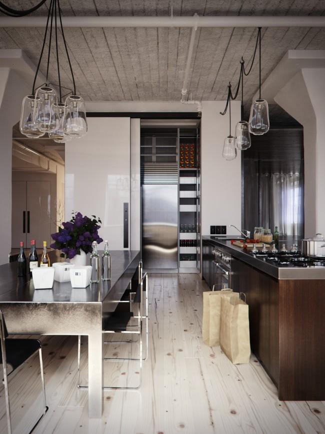Le wengé deviendra le centre d'attention dans une cuisine lumineuse, tandis que l'intérieur aura l'air très frais et laconique.
