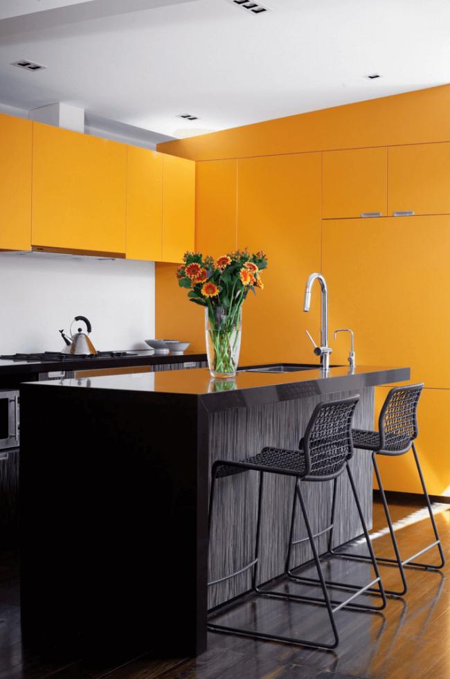 Le wengé peut être utilisé dans la cuisine avec des accents de couleurs vives à l'intérieur.  Grâce à la palette polyvalente de cet arbre, il se marie bien avec n'importe quelle couleur