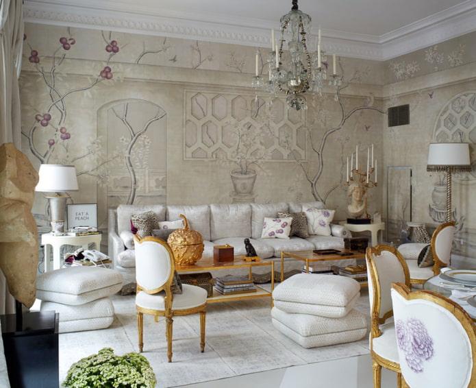 peintures murales beiges dans le salon