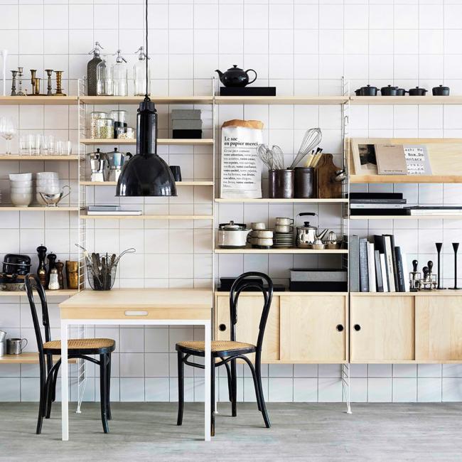 Le rack sera organique dans l'espace cuisine.