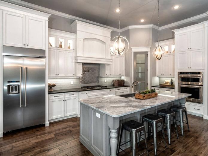 cuisine blanche classique avec murs gris