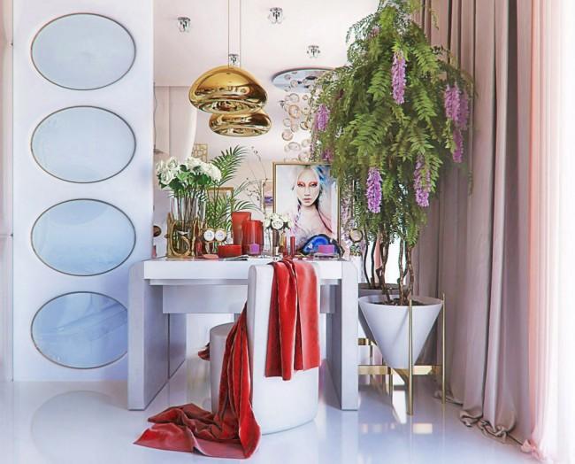 coiffeuse avec miroir : luxe, paillettes, glamour et formes futuristes