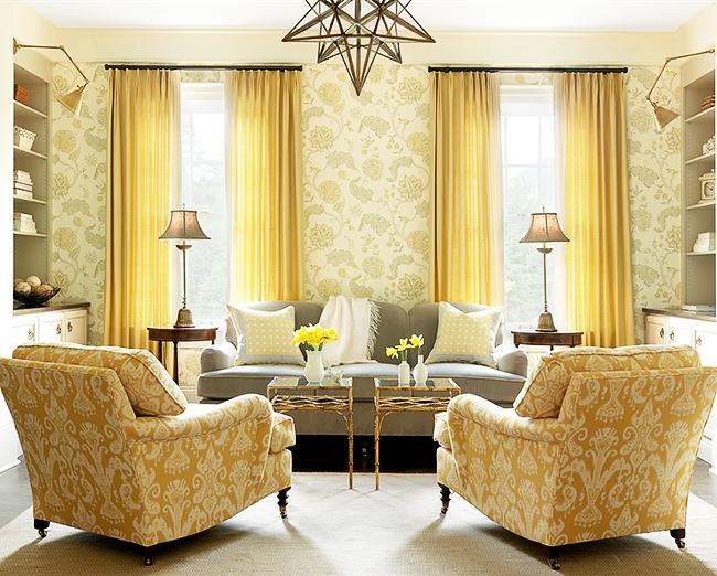 Papier peint textile citron dans un salon néoclassique