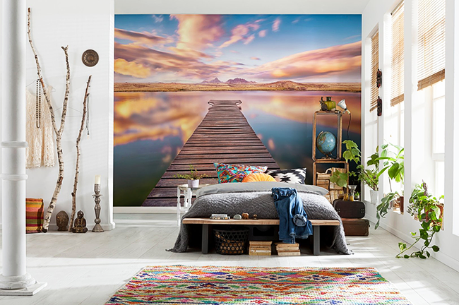 Le papier peint à effet stéréoscopique sera un ajout lumineux et élégant à l'intérieur d'une chambre moderne