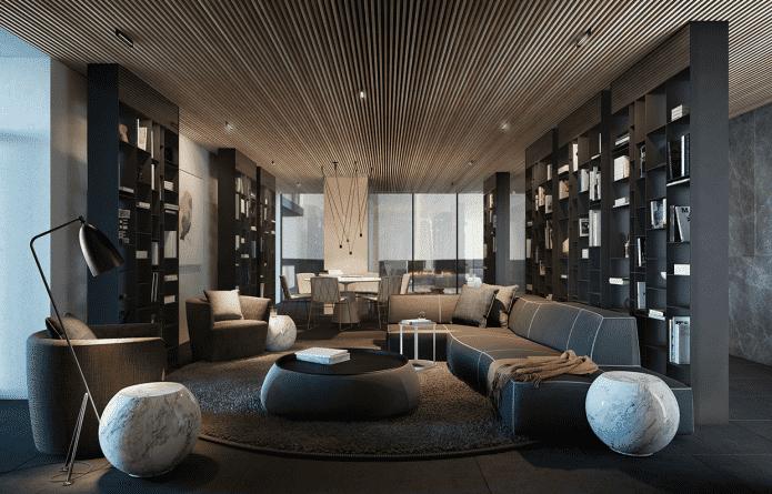 plafond de lattes de bois dans le salon