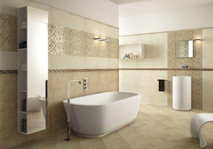 Décoration de salle de bain aux couleurs beiges