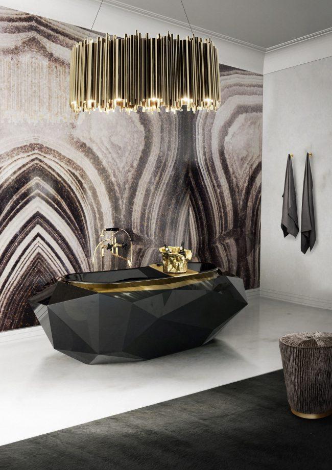 Salle de bain luxueuse avec baignoire art déco noire originale