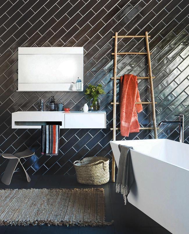 L'un des types de décoration de salle de bain les plus populaires - en noir