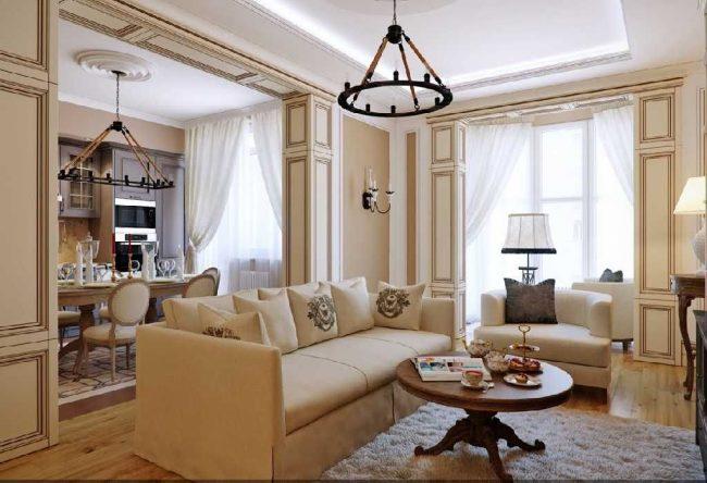 Style italien classique à l'intérieur du salon