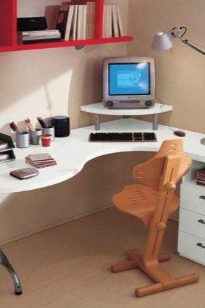 Tables d'angle d'ordinateur avec étagères et tiroirs