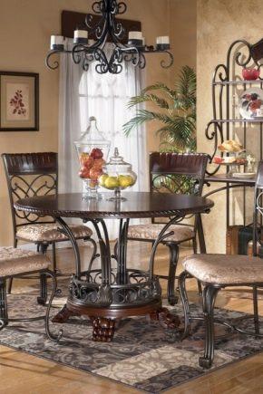 Tables forgées dans un intérieur moderne