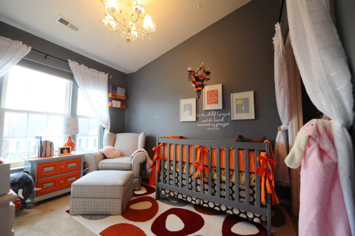 design de chambre d'enfant gris foncé