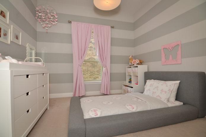 design de chambre d'enfant gris clair
