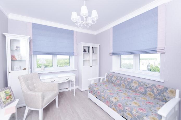 intérieur d'une chambre d'enfants bleu-gris