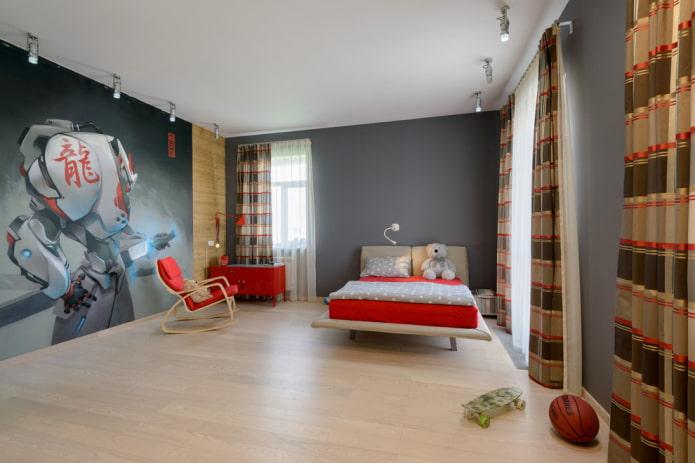 intérieur de chambre d'enfant beige et gris
