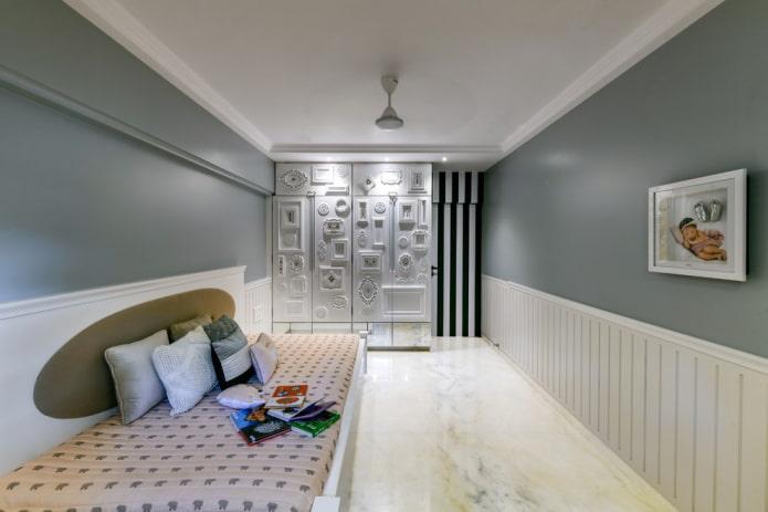 conception d'une chambre d'enfant blanche et grise