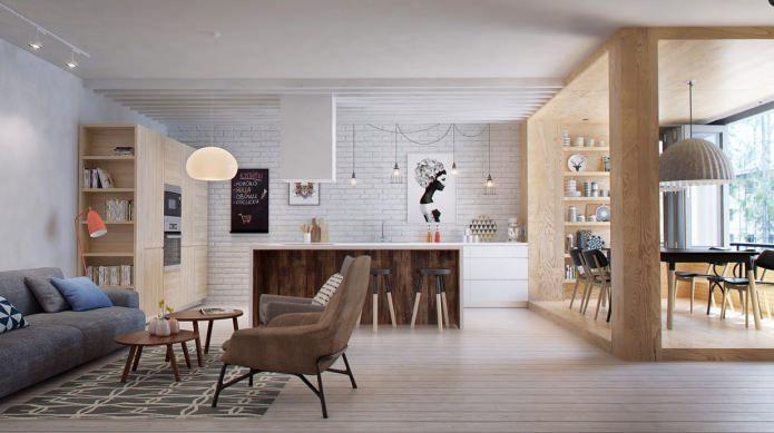 Brique à l'intérieur du salon dans le style scandinave