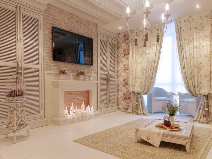 Brique à l'intérieur du salon dans le style provençal