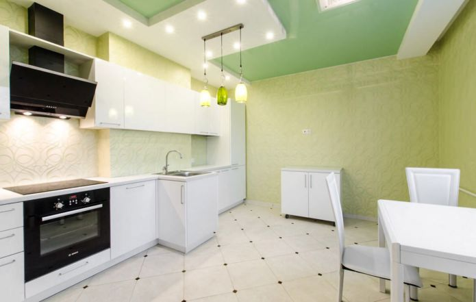 Papier peint vert dans la cuisine