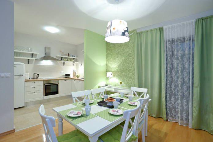papier peint vert dans la conception de la cuisine