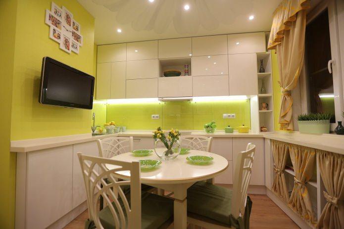 papier peint vert uni dans la cuisine
