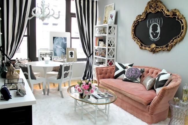 Combinaison parfaite de rideaux noirs et blancs et de design art déco