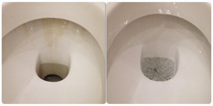 Toilette avant et après le nettoyage à l'acide borique