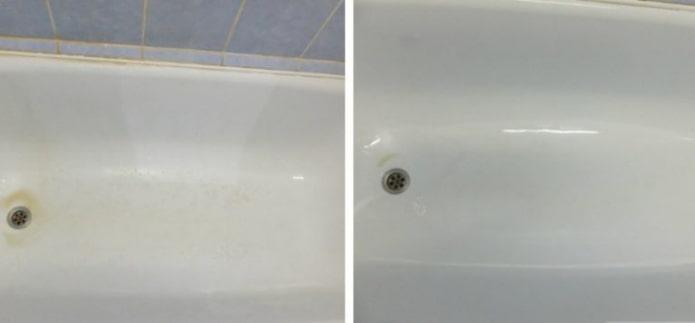 Bain avant et après le nettoyage à l'ammoniaque