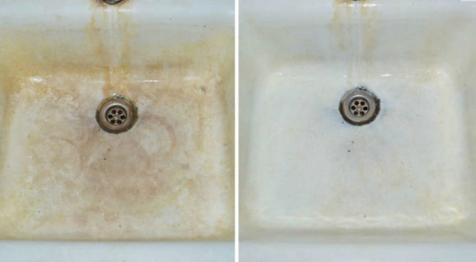 Évier avant et après traitement à l'acide citrique