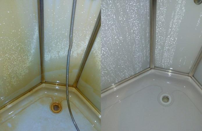 Cabine de douche avant et après traitement avec Sanox Ultra